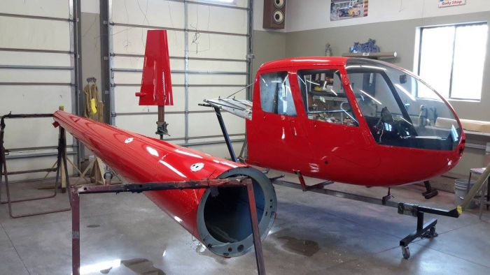 finished Special helicopter paint job by Coyote Customs and repair in Payson Arizona