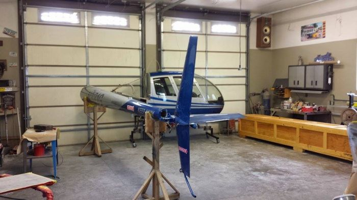 helicopter painted and re-assembled by Coyote Customs and Collision repair in Payson Arizona