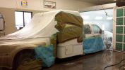 Custom build being prepped for auto paint by Coyote Custom and Collision Repair